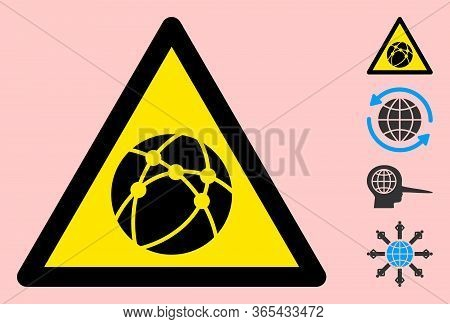 Vector Internet Sphere Flat Warning Sign. Triangle Icon Uses Black And Yellow Colors. Symbol Style I