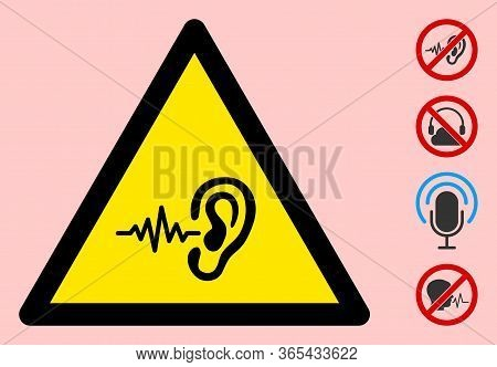 Vector Listen Signal Flat Warning Sign. Triangle Icon Uses Black And Yellow Colors. Symbol Style Is