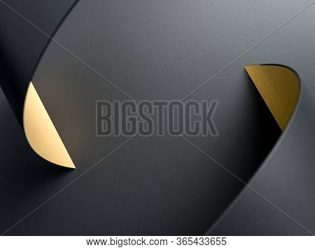 3d Render Of Curved Black And Golden Helix On Black Background. Perfect Background For Business. Min
