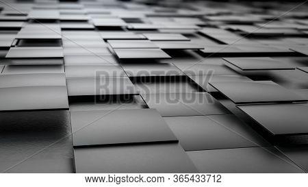 3d Render Of Black Ceramic Tiles Floating Over Black Background. Minimalist Image With Geometry Figu