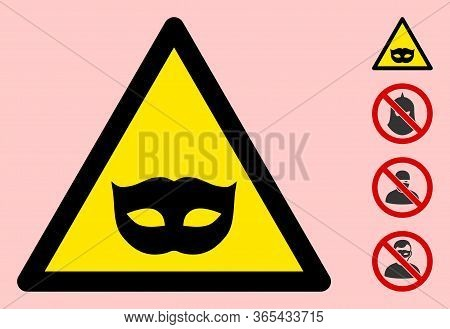 Vector Masquerade Mask Flat Warning Sign. Triangle Icon Uses Black And Yellow Colors. Symbol Style I