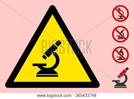Vector Microscope Flat Warning Sign. Triangle Icon Uses Black And Yellow Colors. Symbol Style Is A F