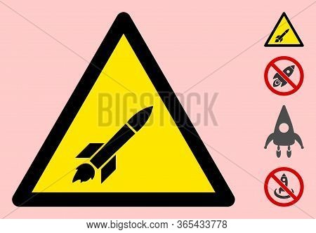 Vector Missile Flat Warning Sign. Triangle Icon Uses Black And Yellow Colors. Symbol Style Is A Flat
