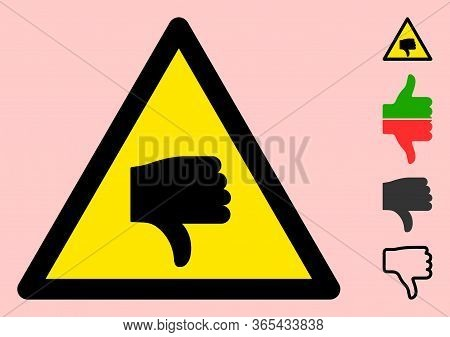 Vector Negative Rating Flat Warning Sign. Triangle Icon Uses Black And Yellow Colors. Symbol Style I