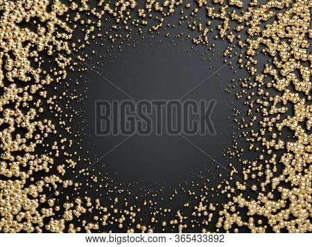3d Render Of Golden Frame Made With Golden Spheres On Black Background. Perfect Image For Placing Yo