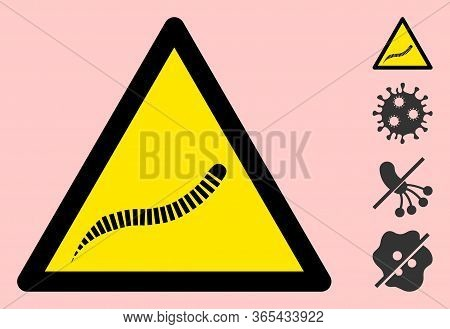 Vector Parasite Worm Flat Warning Sign. Triangle Icon Uses Black And Yellow Colors. Symbol Style Is