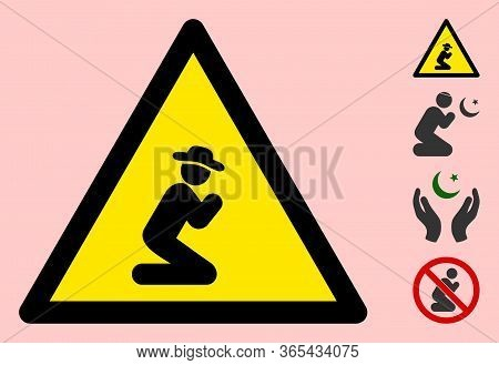 Vector Praying Gentleman Flat Warning Sign. Triangle Icon Uses Black And Yellow Colors. Symbol Style
