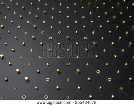 3d Render Of Black Background With Golden Metal Ggeometric Shapes. Perfect Background For Modern Min