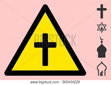 Vector Religious Cross Flat Warning Sign. Triangle Icon Uses Black And Yellow Colors. Symbol Style I