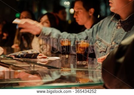 Madrid, Spain - January 26, 2020:people Having Drinks Inside Mercado De San Miguel (