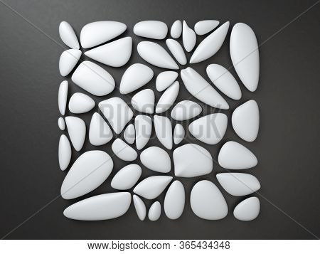 3d Render Of White Pebbles Over Black Background Forming Square Frame. Abstract Minimalist Image Of