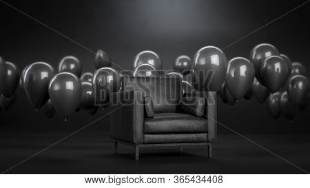 3d Render Of Leather Armchair Or Sofa In Black Room With Black Balloons. Dark Interior With Furnitur