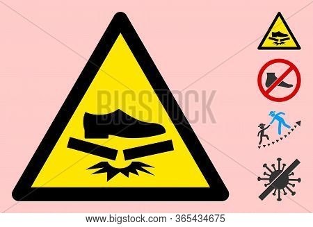 Vector Step Fragile Flat Warning Sign. Triangle Icon Uses Black And Yellow Colors. Symbol Style Is A