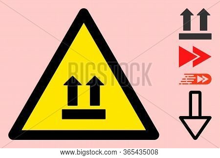 Vector Upward Direction Flat Warning Sign. Triangle Icon Uses Black And Yellow Colors. Symbol Style