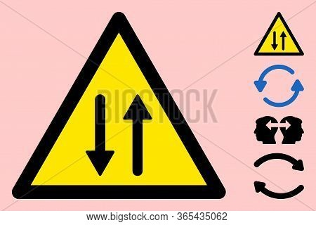 Vector Vertical Exchange Flat Warning Sign. Triangle Icon Uses Black And Yellow Colors. Symbol Style
