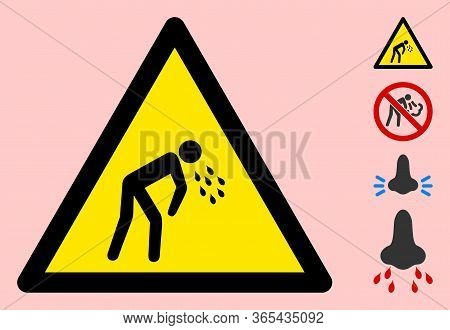 Vector Vomit Flat Warning Sign. Triangle Icon Uses Black And Yellow Colors. Symbol Style Is A Flat V