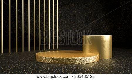 3d Render Of Golden Shiny Cylinders In Black Studio. Golden Stage, Pedestal Or Podium. Perfect Illus