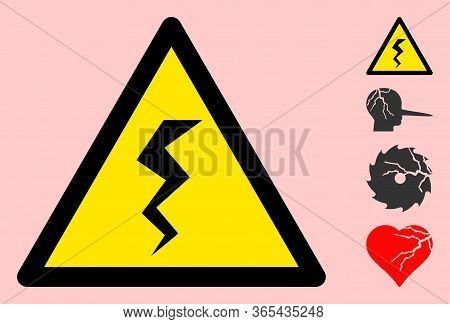 Vector Zigzag Crack Flat Warning Sign. Triangle Icon Uses Black And Yellow Colors. Symbol Style Is A