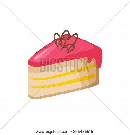 Pink Pie Illustration. Pink, Frosting, Biscuit. Food Concept. Illustration Can Be Used For Topics Li