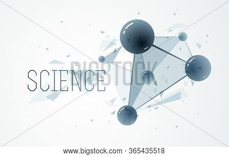 Molecules And Atoms Vector Abstract Background, Science Chemistry And Physics Theme Illustration, Mi
