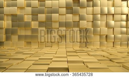 3d Render Of Interior Made Of Golden Shiny Cubes Or Tiles. Perfect Illustration For Placing Your Tex