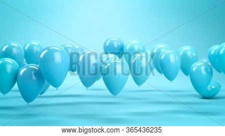 Lots Of Blue Air Balloons Flying In Blue Studio. Ocncept Of Happiness And Celebrations. 3d Render In