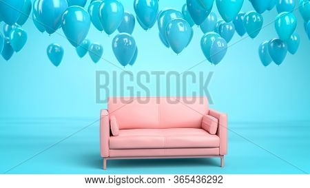 3d Render Of Pink Sofa In Blue Interior With Flying Blue Balloons In The Air. Concept Of Happiness,