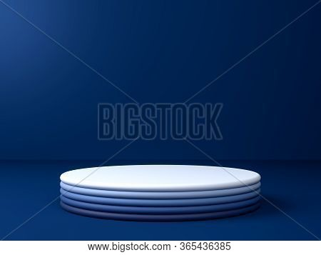 3d Render Of Round Stage, Podium Or Pedestal In Blue Studio. Perfect Illustration For Placing Your P