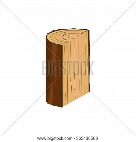 Half Of Wooden Stump Illustration. Log, Tree Trunk, Firewood. Wood Concept. Can Be Used For Topics L