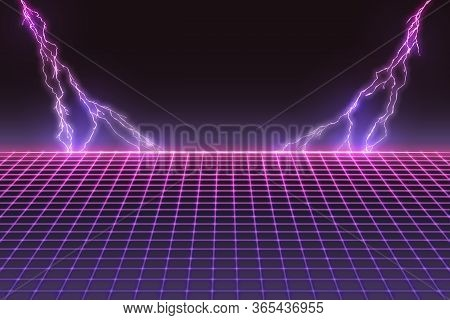 Laser Grid With Bolts Of Lightning. Retro Futuristic Template In 80s Style. Synthwave, Retrowave, Va