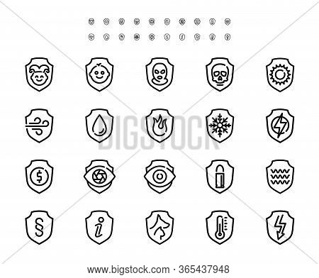 Resistance, Protection From External Influence And Guarding Related Vector Icon Set In Outline Style