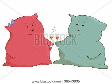 Kittens pillows friends stand, gently looking against each other and holding in hands glasses with a drink poster
