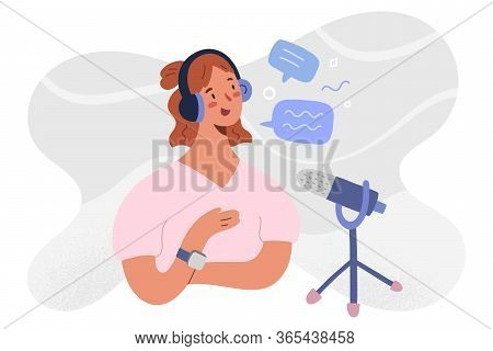 Podcast Host Recoding, Streaming An Series Of Online Radio Episode. Woman Blogger In Headset And Mic