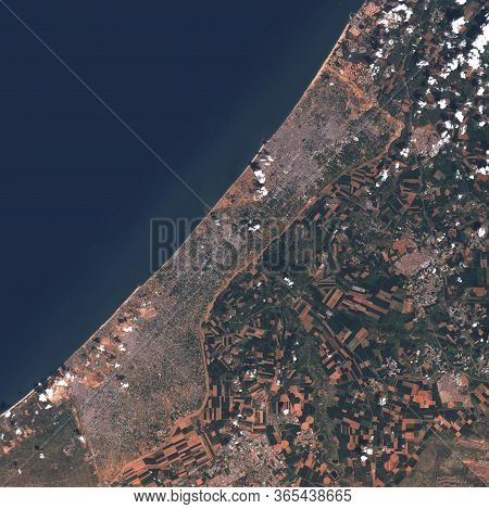 High-resolution Satellite Image Of The Gaza Strip. Contains Modified Copernicus Sentinel Data