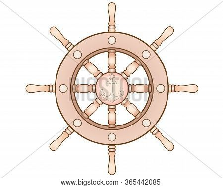 Steering Wheel With An Anchor - Vector Full Color Picture. Steering Wheel Of A Ship Or Yacht. Drawin