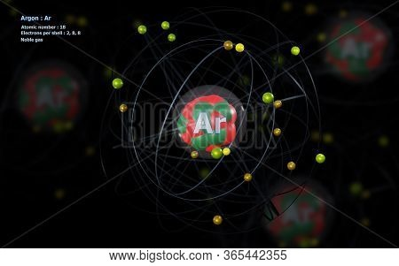 3d Illustration Of Atom Of Argon With Detailed Core And Its 18 Electrons With Atoms In Background