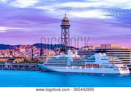 Barcelona, Spain - November 07 2018: Mv Seabourn Odyssey Cruise Ship Docked/ Anchored Near Port Vell