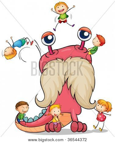illustration of kids playing with a monster on white