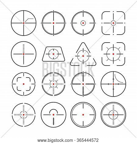 Sniper Focus Set. Optical Aiming, Target Pointing, Round, Triangular, Square Shapes . Can Be Used Fo