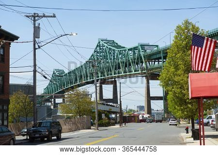 Chelsea, Ma, Usa - May 9, 2019: Maurice J. Tobin Memorial Bridge Aka Tobin Bridge Is A Cantilever Tr