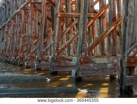 Pudding Creek Trestle, Fort Braggs Historic Bridge, Detail Of Architecture In Low Tide