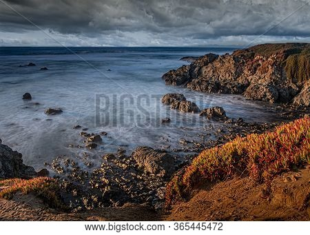 Mendocino, California, Usa, Fort Bragg, Long Exposure Of The Ocean By The Glass Beach On A Cloudy Ev