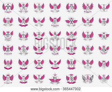 Weapon Emblems Vector Emblems Big Set, Heraldic Design Elements Collection, Classic Style Heraldry A