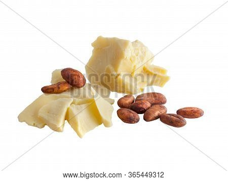 Pieces Of Natural Cocoa Butter With Cocoa Beans Isolated On White Background. Macro Photo