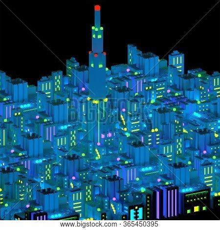 Top View Of A Neon City Skyline Made Of Building-blocks At Night With Shining Lights. Aerial View 3d