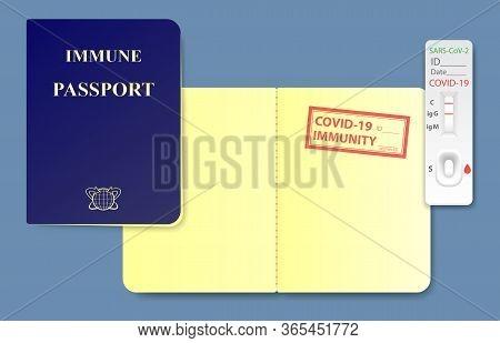 Concept Sample Of Immune Passport With Rapid Antibodies Coronavirus Test Result. Immunity Stamp With