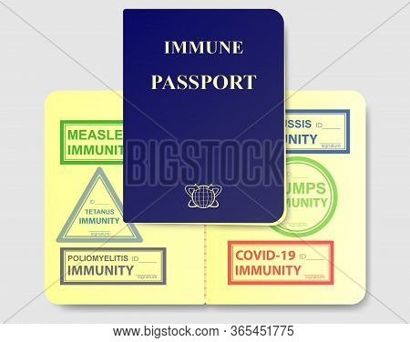 Concept Sample Of Immune Passport With Stamps Of Immunity To Coronavirus, Covid-19 Virus And Other D
