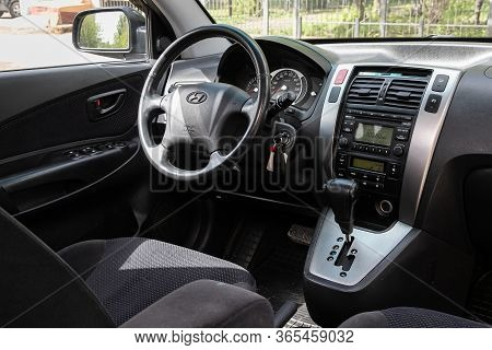 Novosibirsk/ Russia - May 02 2020: Hyundai Tucson, Dark Car Interior - Steering Wheel, Shift Lever A