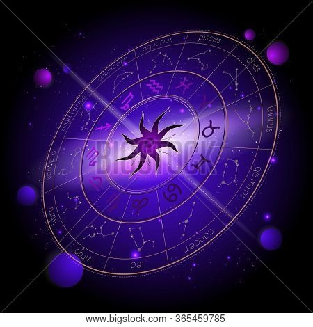 Vector Illustration Of Horoscope Circle In Perspective, Zodiac Signs And Astrology Constellations Ag