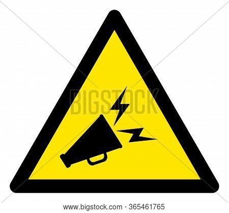 Raster Announce Horn Flat Warning Sign. Triangle Icon Uses Black And Yellow Colors. Symbol Style Is